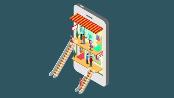 Mobile shopping e-commerce online store reveal animation flat 3d isometric  concept  Electronic business, sales, black Friday  People walk on floors in  stores boutiques like inside smartphone 4k video