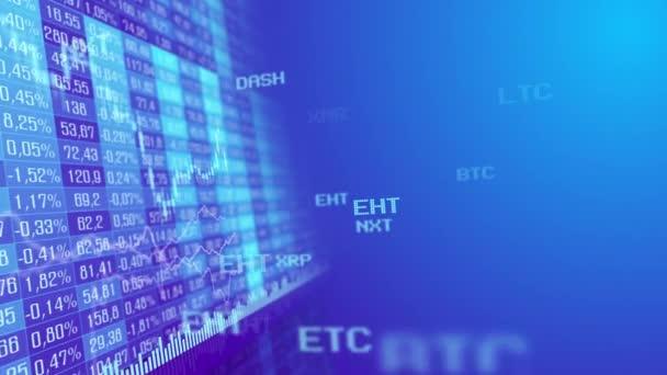 Táblázat- és oszlopdiagramon cryptocurrency tőzsde a piaci indexek animáció 4k videóinak. Absztrakt valuta árfolyam diagram animált lila háttér.