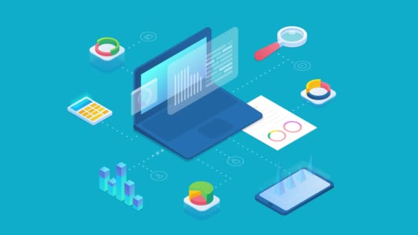 Statistika Analýza dat Obchodní graf Informace o počítači a mobilní telefon izometrický design animovaný koncept 4K video