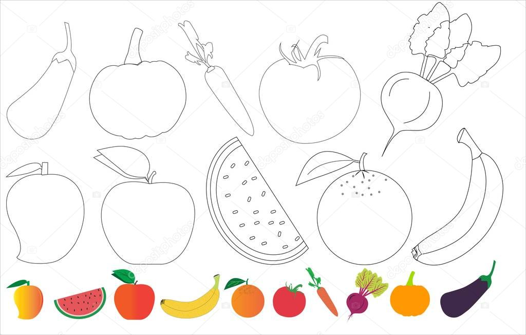 ✓ Fruits And Vegetables For Kids Coloring And Fruits And Vegetables Vector  Icons Premium Vector In Adobe Illustrator Ai ( .ai ) Format, Encapsulated  PostScript Eps ( .eps ) Format