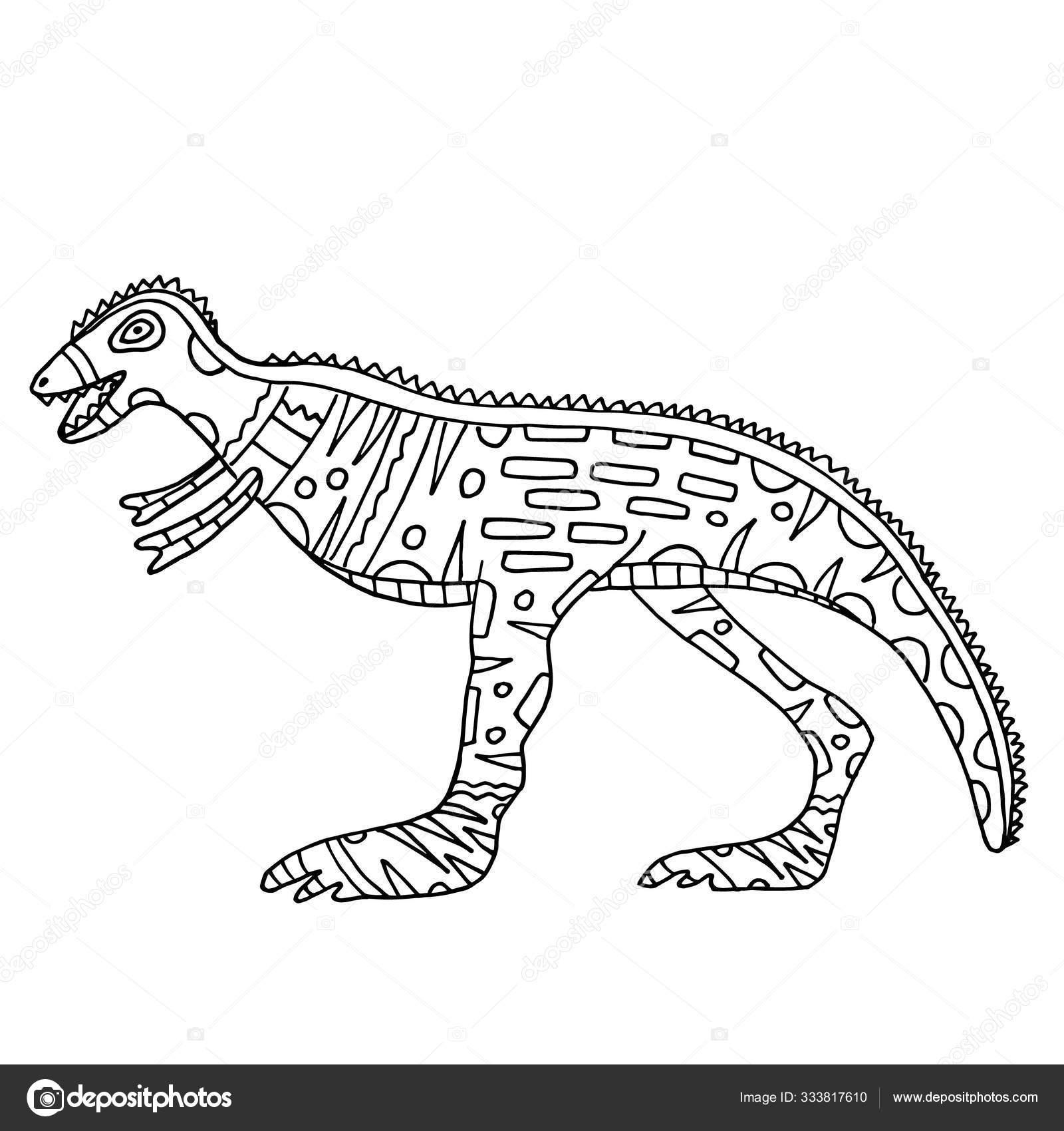 Dinozor Boyama Vektoru Cocuklar Yetiskinler Icin Boyama Kitabi