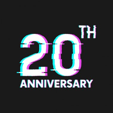 20th Years Anniversary Logo with Glitch Effect Style Vector for Banner, Poster, Flyer, Event Logo
