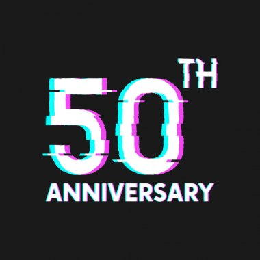 50th Years Anniversary Logo with Glitch Effect Style Vector for Banner, Poster, Flyer, Event Logo