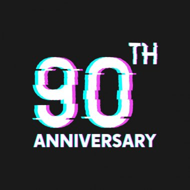 90th Years Anniversary Logo with Glitch Effect Style Vector for Banner, Poster, Flyer, Event Logo