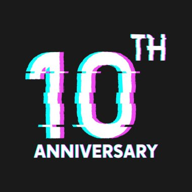 10th Years Anniversary Logo with Glitch Effect Style Vector for Banner, Poster, Flyer, Event Logo