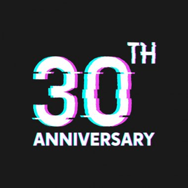 30th Years Anniversary Logo with Glitch Effect Style Vector for Banner, Poster, Flyer, Event Logo