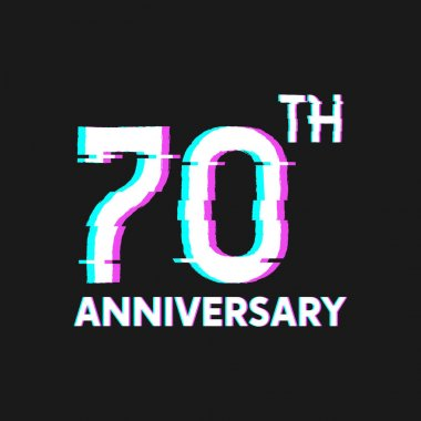 70th Years Anniversary Logo with Glitch Effect Style Vector for Banner, Poster, Flyer, Event Logo