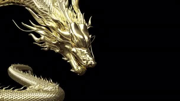 3D animáció arany kínai sárkány mozog lassabban a cél a padlón 3d renderelés közé alfa útvonal.