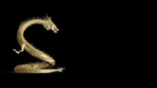 Teljes test Arany kínai sárkány pózol köpni tűz a földre 3D animáció közé alfa útvonal.