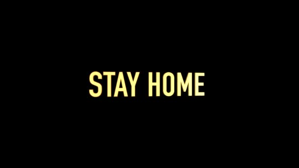 3D Animated stay home title on black background and gold letters