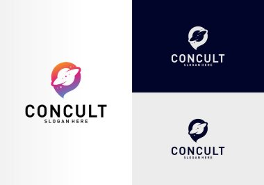 Planet Business Consulting Logo Concept. App Chat Talk Bubble Logo Vector. Icon Symbol