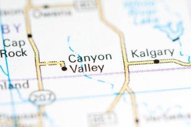 Canyon Valley. Texas. USA on a map