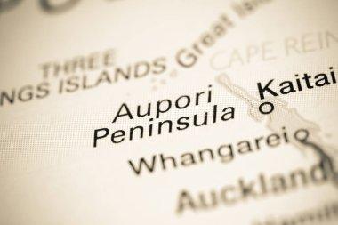 Aupori Peninsula. New Zealand on a map