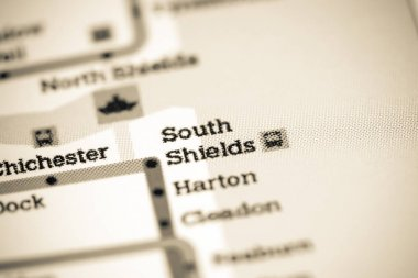 South Shields Station. Newcastle Metro map.