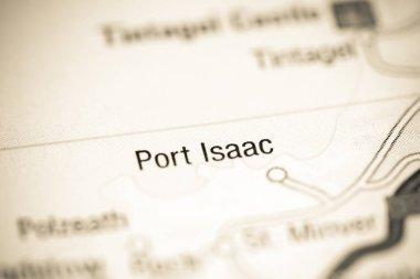Port Isaac. United Kingdom on a map