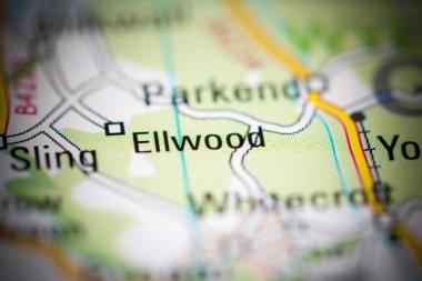Ellwood. United Kingdom on a geography map