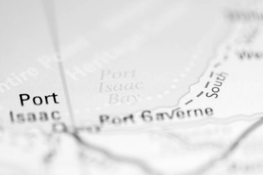 Port Isaac Bay. United Kingdom on a geography map