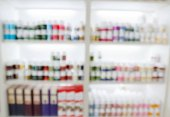 Fotografie blurry medicine cabinet and store medicine and pharmacy drugstor
