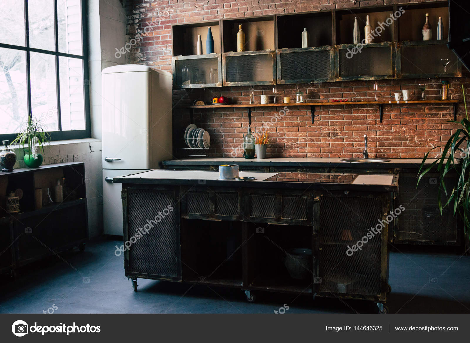 rustieke keuken interieur stockfoto