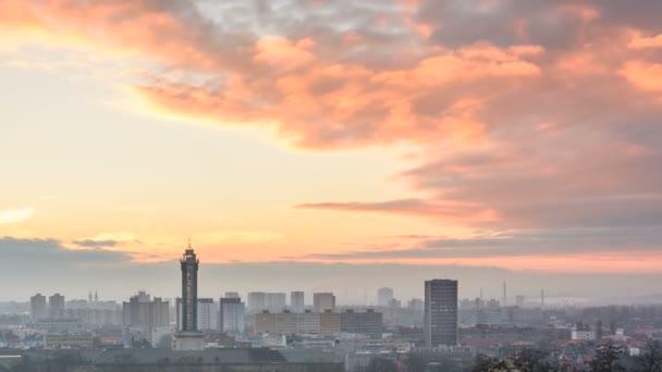 Západ slunce město timelapse