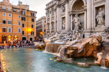 Trevi Fountain at evening