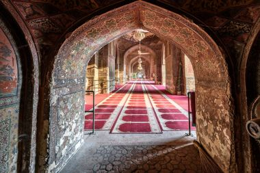 Interior of Wazir Khan mosque in Lahore, Pakistan