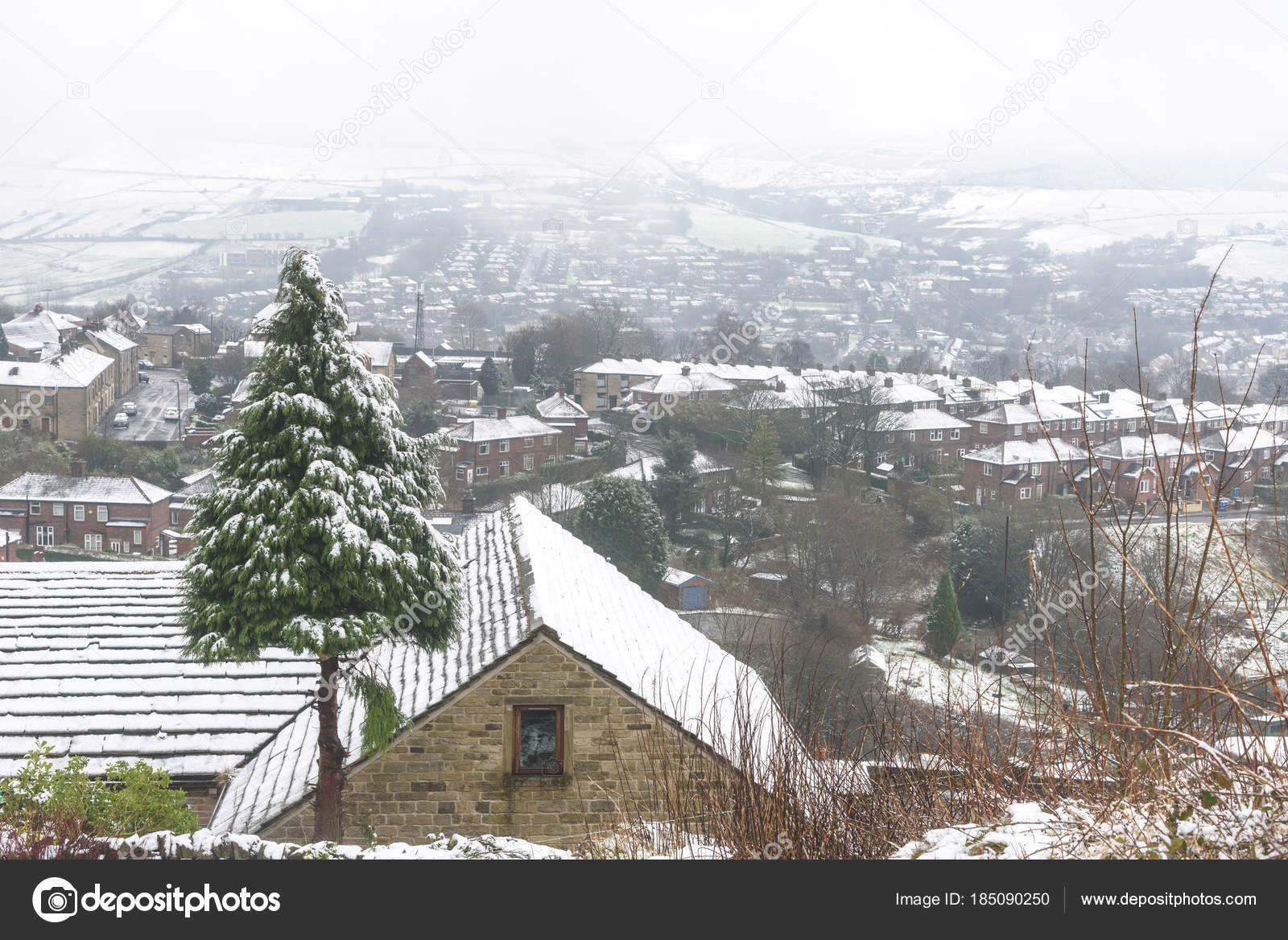 England Christmas Snow.Top View Snow Covered Village Christmas Trees Noth West