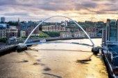 Photo Millenium bridge position is between Southwark Bridge (downstream) and Blackfriars Railway Bridge (upstream), Newcastle, England.