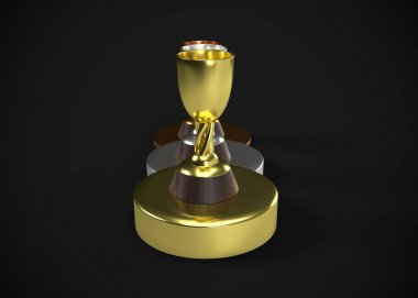 Trophies.  Gold Silver Bronze Awards 3D Render