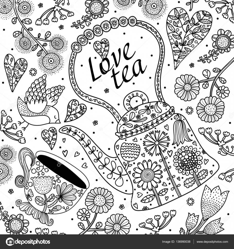 Fiesta de té con flores y aves. Para colorear — Vector de stock ...