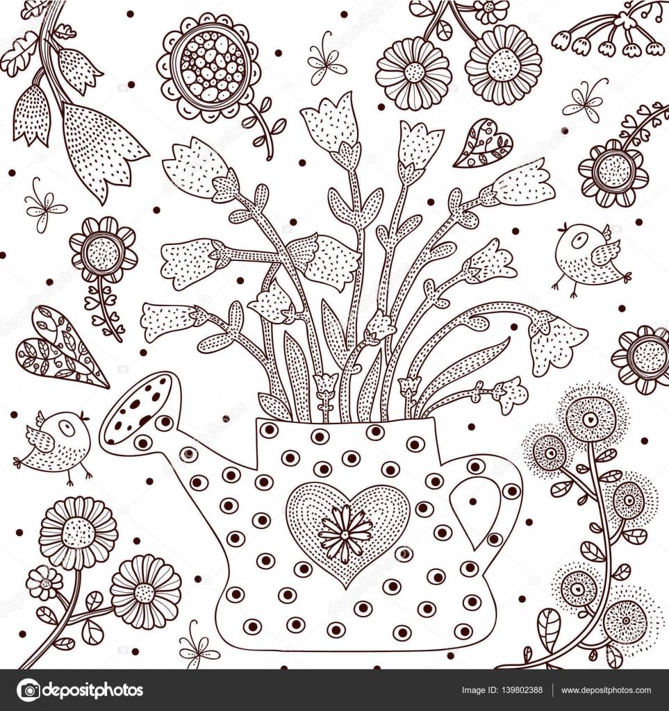 Annaffiatoio da giardino disegni da colorare vettoriali - Annaffiatoio da giardino ...