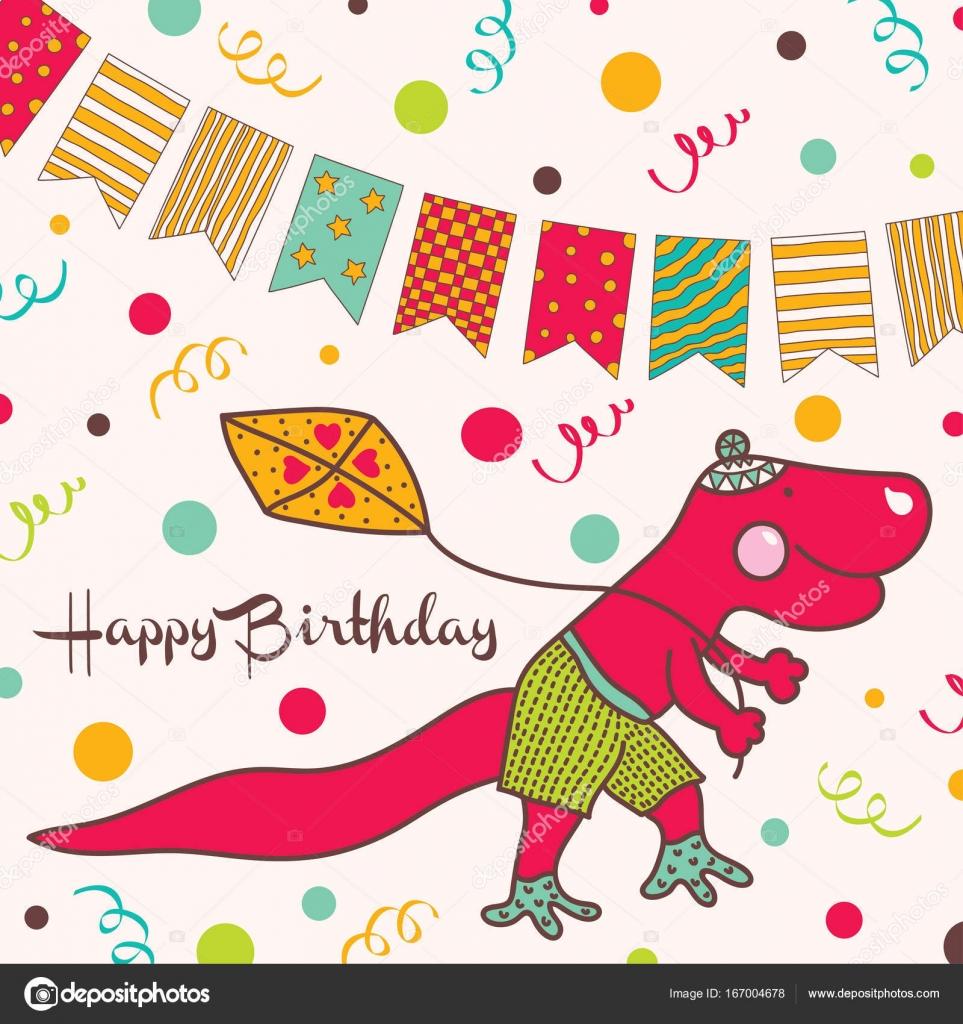 Happy birthday card with cartoon dinosaur stock vector happy birthday card with cartoon dinosaur stock vector bookmarktalkfo Images