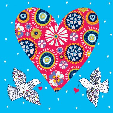 Peace! Cute vector with flowers and hearts and dove. Love postcard.