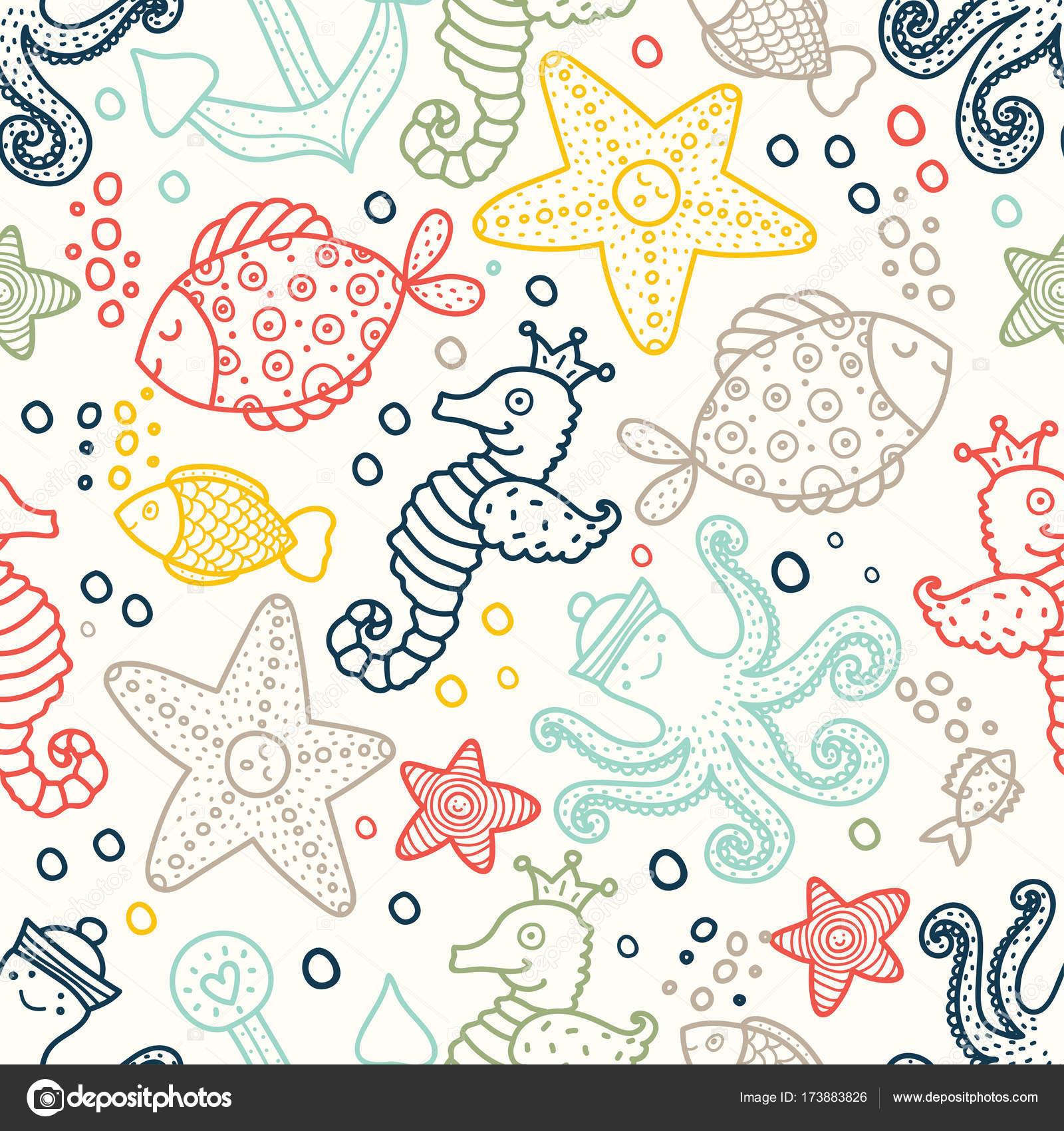 海をモチーフにした子供のシームレス パターン ストックベクター