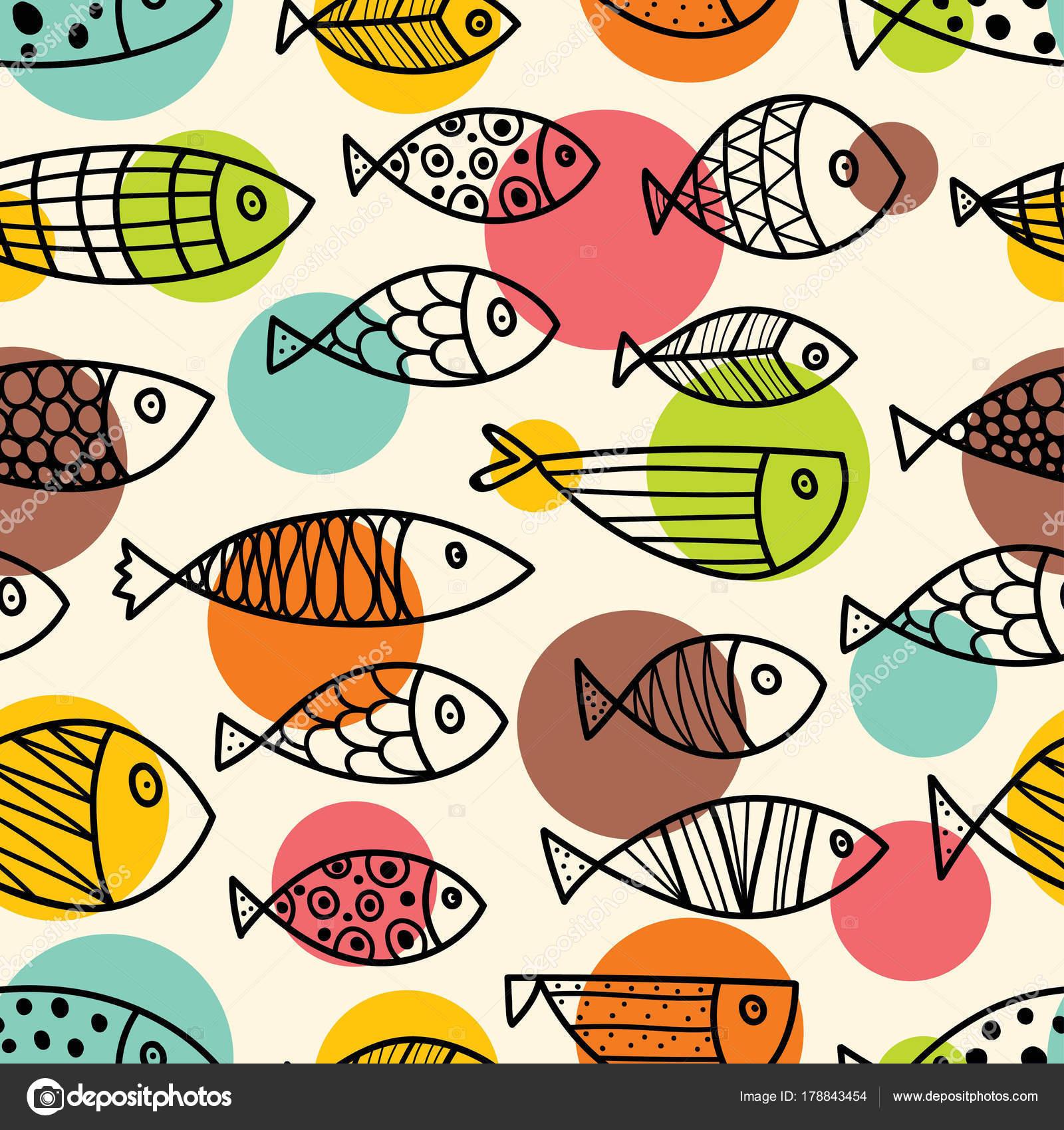 Patr n sin fisuras l nea con lindos peces ornamentales for Manual de peces ornamentales
