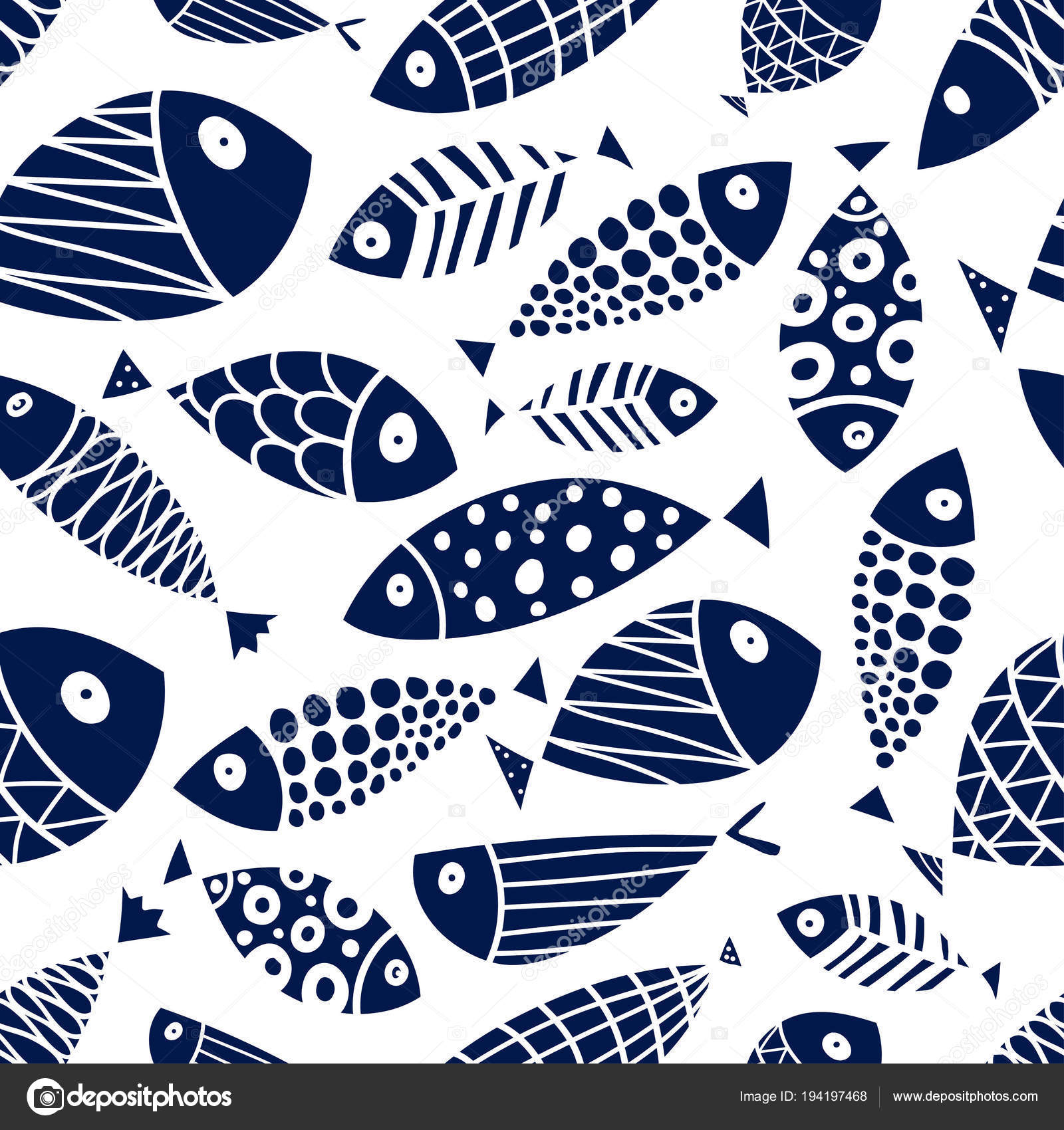 Lindo Pescado Fondo Los Niños Patrón Transparente — Vector de stock ...