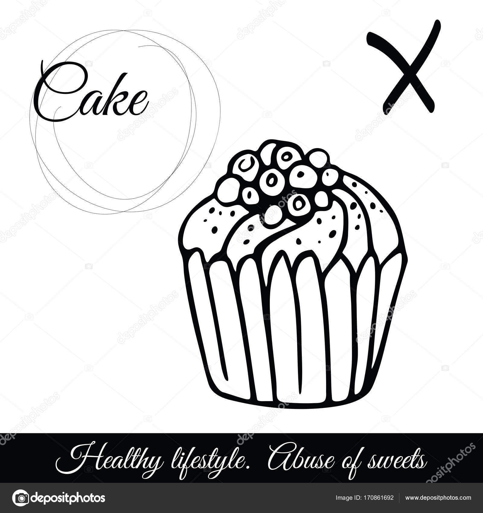 Outline Cake Vector Icon A Symbol Of Junk Food Stock Vector