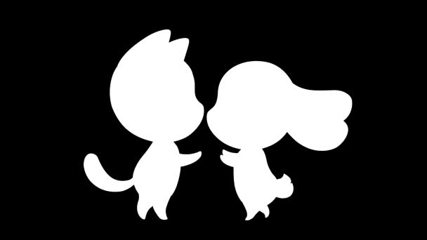 Kiss Cartoon Characters White Silhouettes Black Background Animated