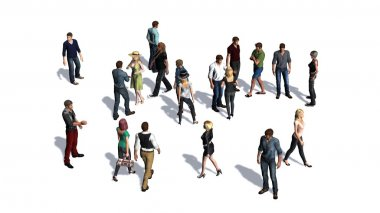 a crowd of people - isolated on white background