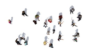 a crowd of people from top - isolated on white background