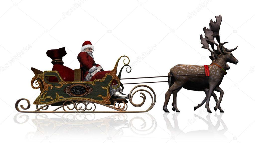 Goede Kerstman met slee en rendieren - geïsoleerd op witte achtergrond LK-06