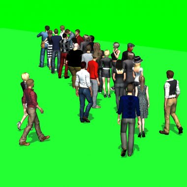 People waiting in line - on green screen