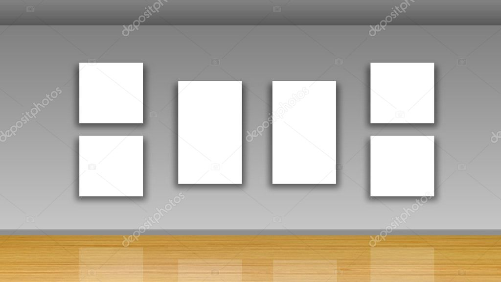 Marcos en blanco en paredes y piso de madera - Galería interior ...