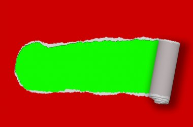 ripped paper - red ripped paper with green Background