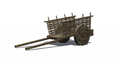 Ancient cart with shadow - isolated on white background