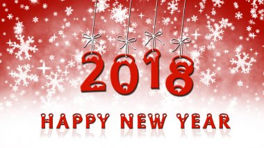 Year change to 2018, snowflakes on background, Happy new year - text