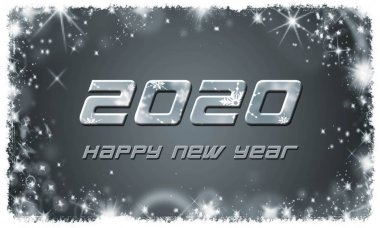 Happy New Year 2020 lettering on grey background with white stars - 3D illustration