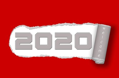 Paper ripped - 2020 with lettering Welcome on red background - 3D illustration