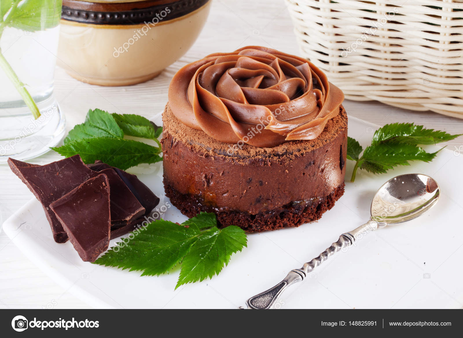 Rose Chocolate Mousse Cake On A Beautiful Plate Cream Decoration