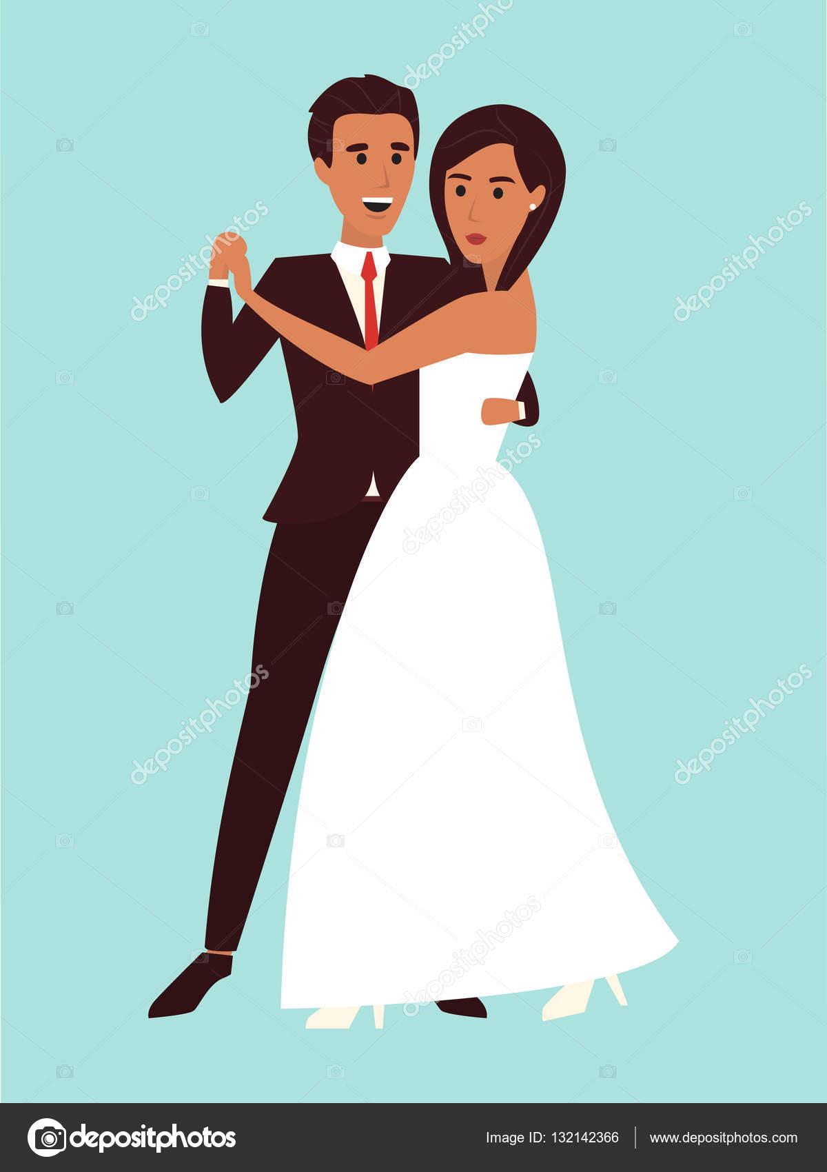 Wedding dance. Marriage invitation. Flat design vector illustration ...